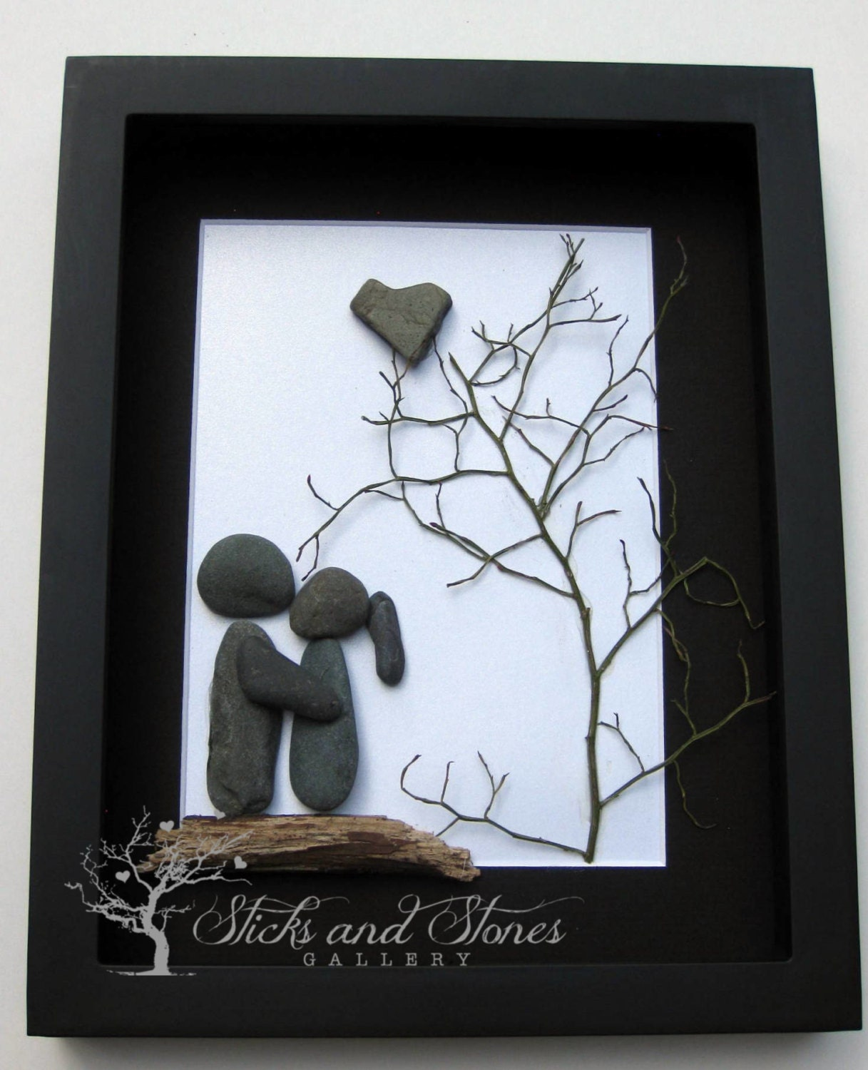 Pebble art couple 39 s gift unique couple 39 s gift for Homemade christmas gift baskets for couples