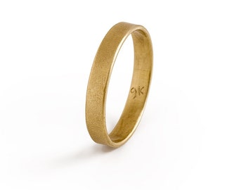 Mens 9K Wedding Band, Solid Gold Ring.