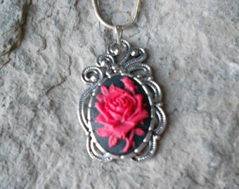 """Red Rose Cameo Pendant Necklace (on black)-- .925 plated 22"""" Chain--- Great Quality"""