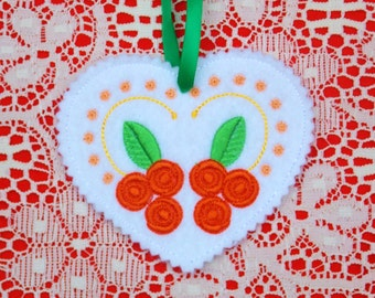 Christmas~Holiday~Valentine~Easter Heart Ornament Exquisite Peach Orange & Green Floral Machine Embroidered