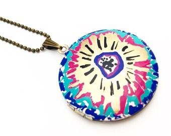 Hand Painted Locket - Floral Locket- Locket Necklace-Sunburst Locket- Celestial- Gypsy - Boho