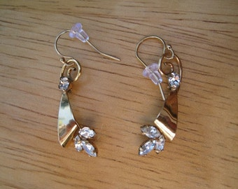 gold plated sterling and crystal earrings
