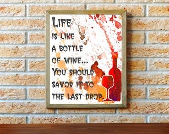 "Wine Wall Decor, Kitchen Art Typographic Print, Kitchen Wall Art, Wine Poster Print 11"" x 14"", Dining Room Decor"