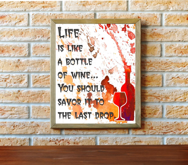 Kitchen Wine Wall Art: Wine Wall Decor Kitchen Art Typographic Print Kitchen Wall