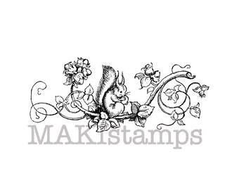 Squirrel stamp / Squirrel with hazelnut flourish rubber stamp / Unmounted rubber stamp or cling stamp option (150206)