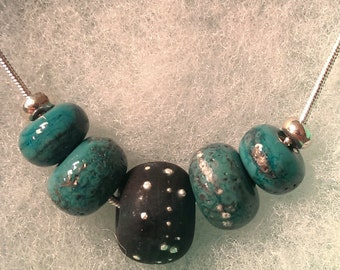 Teal and green lampwork glass and silver beaded necklace by Destiny Pier reduced to clear