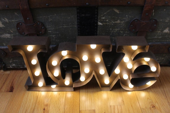 Tin Letters With Lights Lighted Love Marquee Signmetal Letterrustic Weddingvintage