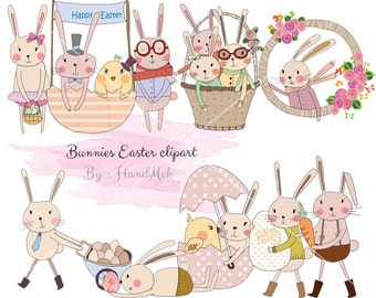 Easter digital clipart ,Easter rabbit clip art , Easter bunny clipart  instant download EPS,PNG file 300 dpi