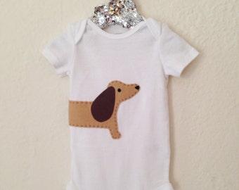 Dachshund Dog Baby Onesie/Bodysuit - wrap-around style