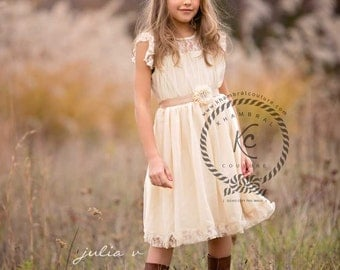 flower girl dress ivory beige flower girl dress girls lace dress lace dress toddler lace dress boho flower girl dress flower girl dress lace