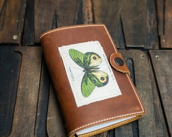 Leather Travel Journal with Butterfly Design