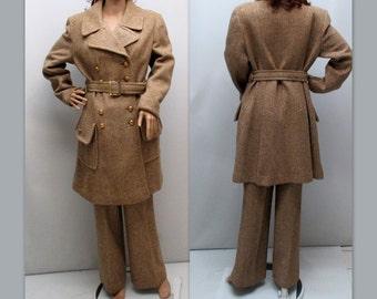 Vintage 60s Pantsuit, Two Piece 60s Pantsuit, 60s Herringbone Coat Pantsuit