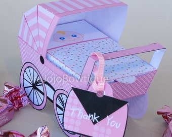 Baby Carriage Favor Box - Pink, Baby pushchair Favor Box Printable for Baby Shower, Goodie Box, treat box