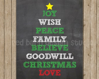 Christmas Tree Chalkboard print 11x14