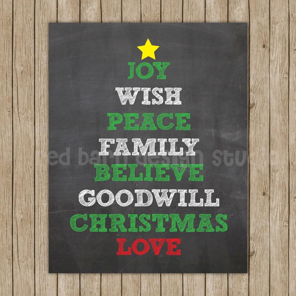 Christmas Tree Chalkboard print 11x14 by RedBarnDesignStudio