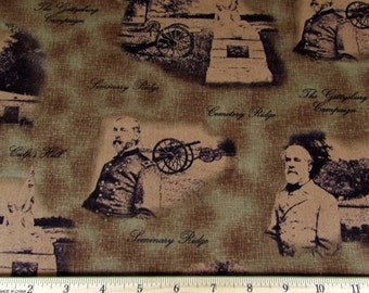 Per Yard, Gettysburg Fabric Brown From Quilting Treasures