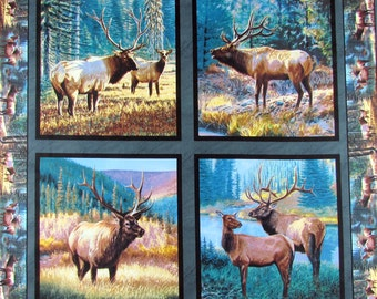 Wild Wings Mountain Sky Elk Fabric By the Panel