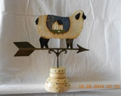 PAinted Sheep saltbox house metal weathervane on wooden base
