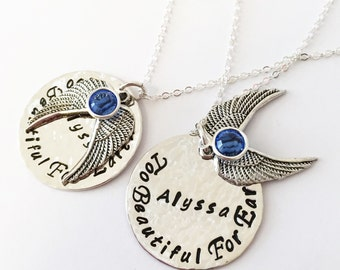 Hand stamped Too Beautiful For Earth pendant hammered polished angel wings and Swarovski Crystal Birthstone
