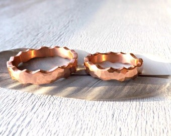 hammered copper ring set, his and her promise rings copper, forged copper bands, alternative ring set his and hers, anniversary rings