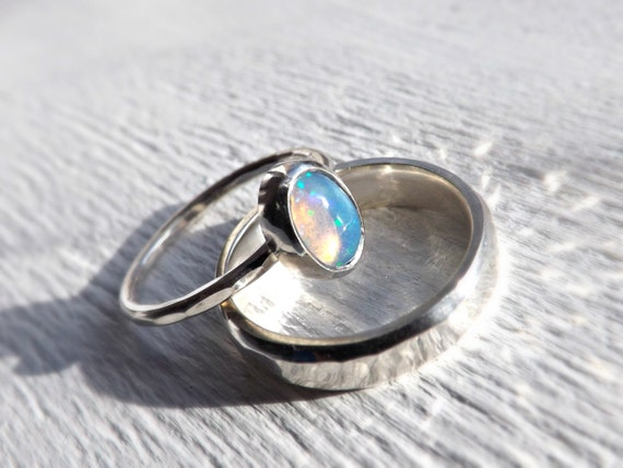 opal ring set opal engagement ring set opal ring by CrazyAssJD