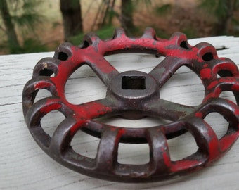 Vintage Red Faucet Knob with Rounded Edges Steampunk Art