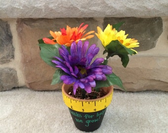 "4"" Medium Flower Pot Teacher's Gift - Flower Pens"