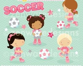 Soccer Girls Clipart