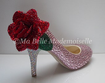 Crystal ROSE Wedding Shoe's, Rose Bridal Shoes, Rose Wedding Shoes, Rose Bridal Heels, Floral Bridal Shoes, Floral Wedding Shoes