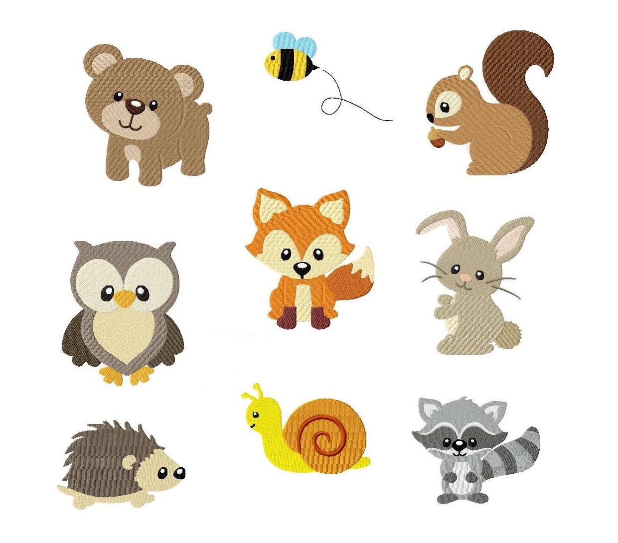 Embroidery design set woodland animals x by