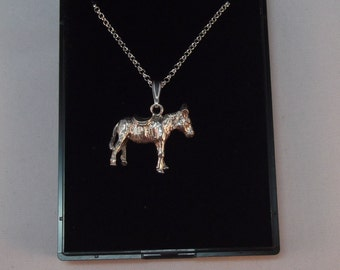 Lovely Little Donkey Vintage Charm on Silver Chain