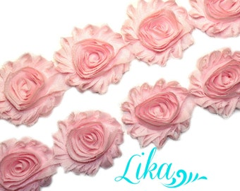 Light Pink Shabby Rose trim - Shabby Flower Trim - Shabby trim - Shabby Flower Rose Trim - Chiffon Flower Shabby Chic - Wholesale Rose Trim