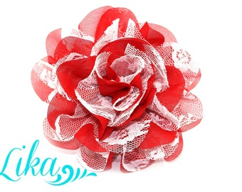 Red with White Lace Flower - Chiffon Flower - Lace rose - Shredded Lace Flower - Red White Lace - Wholesale - Supply - DIY- 4 inch