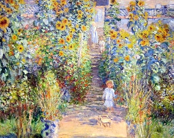 Little Girl on Path of Flowers 11x14 Canvas Print