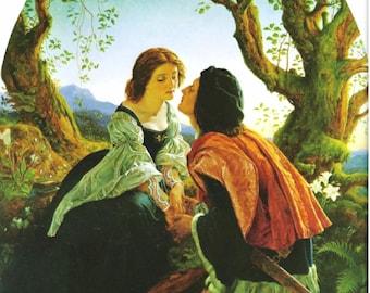 Great Lovers ~  Noel Paton Hesperus,  11x14 Canvas Print, romance, lovers