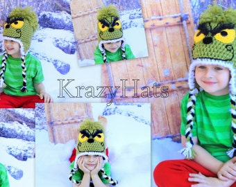 Crochet Grinch hat.Made to order.