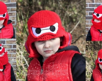 Baymax Crochet Hat. Big Super Hero 6 Helmet.