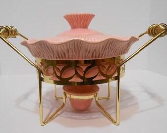 Pink Brass Fondue Dish Mid Century Modern Pottery Miramar of California