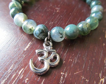 Moss Agate and Om Charm Braceletfor Women or Men, Natural Stone Bracelet, Gemstone Bracelet, Yoga Bracelet, Yoga Jewelry