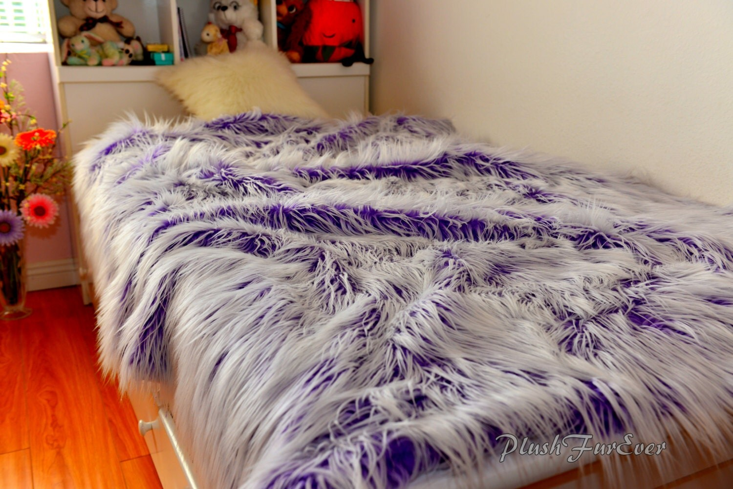 Frost Royal Purple White Faux Fur Mongolian Fabulous