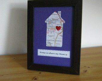 Personalised Mother's Day map house, Custom map house for mum, Remembering Mum, Unique map house