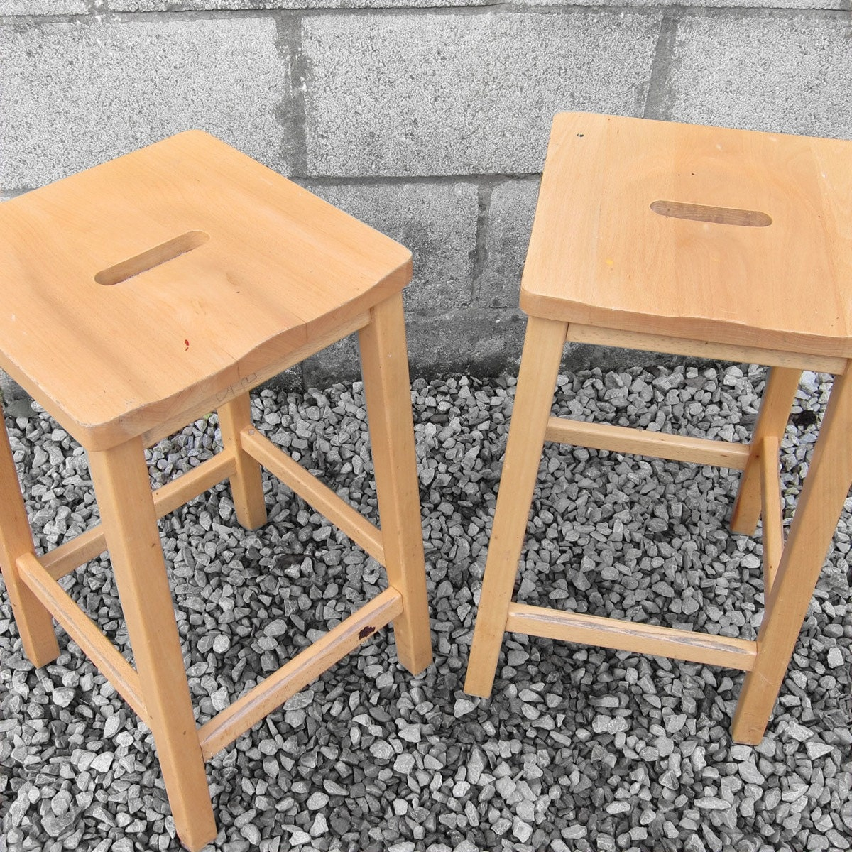 Superb img of Vintage Wooden Lab Stool School Seat by MagpiesVintageShop with #B26619 color and 1200x1200 pixels