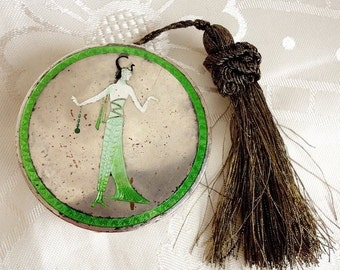 Art Deco Egyptian Revival Conpact with Tassle