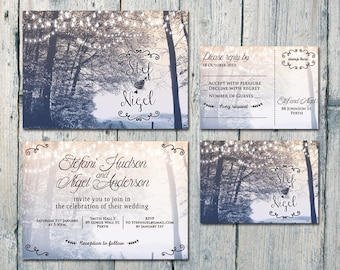Digital - Printable Files - In the Backyard Wedding Invitation and Reply Card Set - Wedding Stationery - ID390