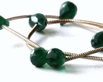 Green Onix Faceted Teardrop Briolettes (7 Beads) 4.9-5.6mm x 7-8.5mm long Faceted Green Onix Briolettes KJ