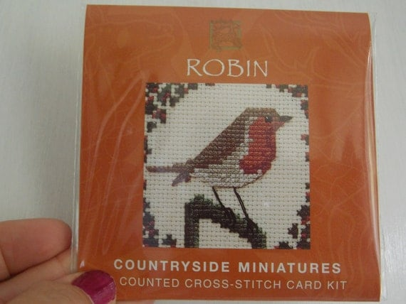 Robin counted cross stitch card kit from by purplevalleydesign