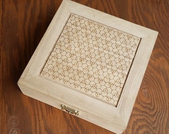 Geometric Pattern Laser Engraved Handmade Wood Box - Hexagon Heptagon