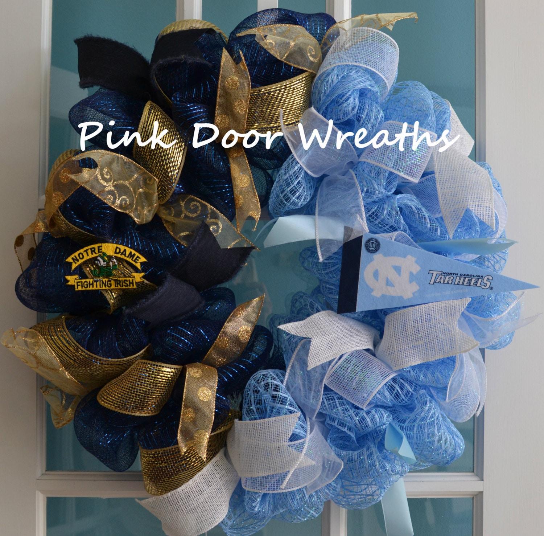 House ided door wreath football ribbons by pinkdoorwreaths
