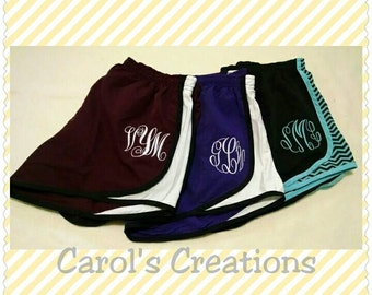 Monogrammed Shorts/ Running Shorts/ Cheerleading/ Three Letter Initials, Bridesmaids