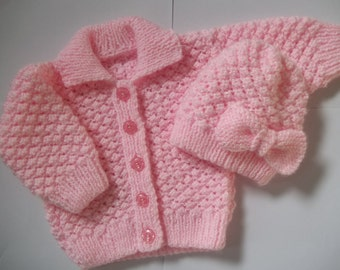 knitting pattern  17 instant download to knit a baby girls coat/jacket/cardigan and hat/beanie/cap in 0-3, 3-6 and 6-12 months